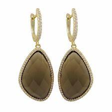 Gold Plated Sterling Silver Semi Precious Smoky Quartz CZ Dangle Earrings