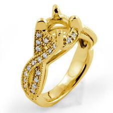 0.50 Ct Round Diamond Semi Mount Engagement Wedding F VS1 Ring 14k Yellow Gold