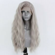US stock 24inch Synthetic Lace front wigs Long Wavy Curly Cosplay Silver grey