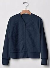 New Girls Gap Navy Blue Eyelet Bomber Jacket Size Large 10