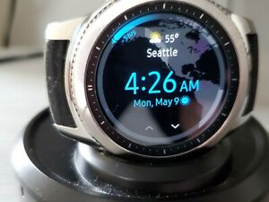 Samsung Galaxy Gear S3 Classic 46mm Stainless Steel Silver Case Multiple Straps!