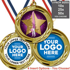 GYMNASTICS GIRLS METAL MEDALS BIG 70mm, PACK OF 10 RIBBONS INSERTS OWN LOGO TEXT