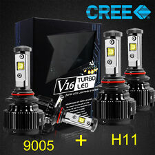 9005+H11 CREE LED Headlight Kit Light Bulbs High Low Beam 14400LM 120W 6000K 4Pc