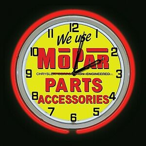 "19"" MOPAR Parts Accessories New Sign Red Double Neon Clock Man Cave Garage"