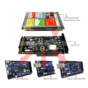 """3.5"""" inch TFT LCD Resistive Touch Shield for Arduino Due,MEGA 2560 w/Library"""