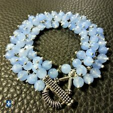 ❤ Beautiful Sky Blue Agate & Plated Silver Bracelet
