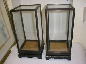 Pair of Vintage  Chinese Glass Display Cases on wood plinths 29cm tall