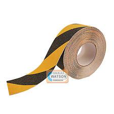 100mm x 5m nera/GIALLO Nastro anti scivolo presa forte risvolto adesivo