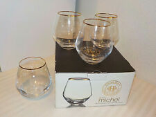 FITZ AND FLOYD GOLD MICHEL SET OF 4 CURVED ROUNDED OLD FASHIONED GLASSES * NIB