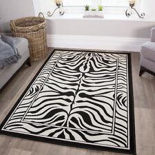 Black White Zebra Print Hide Animal Geometric Living Room Large Small Area Rug
