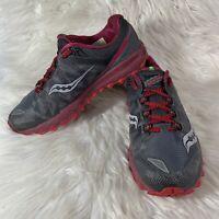 Saucony Womens Sz 10.5 Peregrine 7 Everun Gray BerryRed Running Shoes