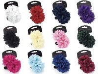 2 Flower Hair Bobbles Ponios Bands Hair Elastics 7cm Girls Ladies Hair Accessory
