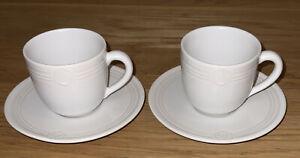 LAGUIOLE GRES VERITABLE. Pair Of Off-white Espresso Cups & Saucers