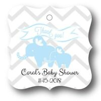 24 Blue Elephant Baby Boy Shower Favor Tag Personalized