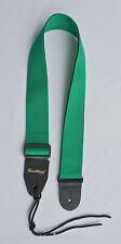Guitar Strap For Acoustic & Electric GREEN Nylon Thick Leather Ends Made In USA