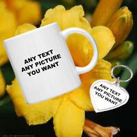 Personalised Gift Set - Mug and Heart Keyring Mothers Day Gift Mum Mummy