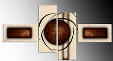 """LARGE BROWN CREAM ABSTRACT CANVAS WALL ART PICTURES SPLIT MULTI 4 PANEL 57"""""""