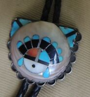 Best! Zuni Frank Vacit, attr. Bolo Inlay in Whole Shell Sun Face mid-40s Museum
