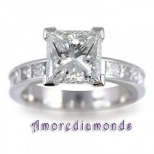 3.8 CT G SI NOT ENHANCED PRINCESS CUT DIAMOND SOLITAIRE ENGAGEMENT RING PLATINUM