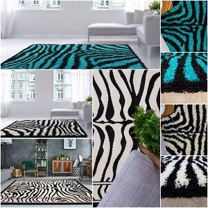 Zebra 70cm X 100cm Faux Sheepskin Shaggy Flokati Rug Carpet Non-Slip UK MADE