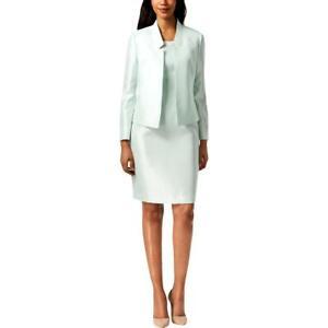 Le Suit Womens Green 2 PC Satin Office Dress Suit 6 BHFO 0356