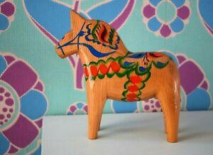 Vintage Nils Olsson Natural Wood Hand Painted Dala Horse Large 6.5 inch Tall