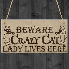 CRAZY CAT LADY Cute Funny Gift Idea Animal Lover Hanging Plaque Home Door Sign