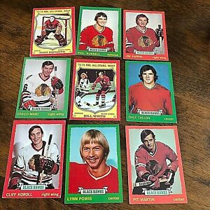 1973-74 O-PEE-CHEE  CHICAGO BLACKHAWKS 18  card TEAM SET