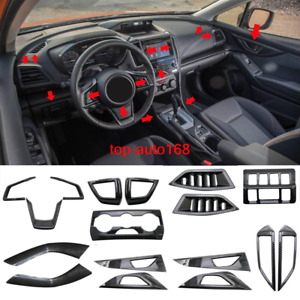 ABS Carbon fiber style interior kit trim 17pcs For Subaru Crosstrek XV 2018-2019