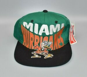 Miami Hurricanes Logo 7 Vintage 90's Big Logo Snapback Cap Hat - NWT