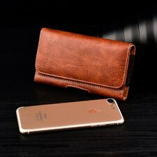 CELL PHONE HORIZONTAL WALLET LEATHER CASE WITH CARRYING POUCH BELT CLIP HOLSTER