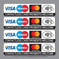 Contactless Credit Card Payments Stickers Taxi Shop VISA Mastercard - SKU2539