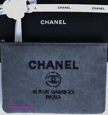 CHANEL TOP CHARCOAL GRAY BLACK SEQUIN CC DEAUVILLE CLUTCH DRESS BAG HANDBAG NEW