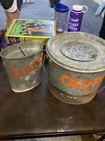 Vintage Old Pal Floater Galvanized Minnow Bucket  Fishing Mino Bucket Live Bait