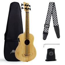 More details for bass ukulele bass electric ubass bamboo solid wood bag tuning wrench humidifier