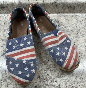 TOMS American Flag Red White Blue USA Stars & Stripes Canvas Shoes Women's W8