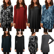 Women's Long Sleeve Pleated Top Loose Fit Tunic Flared Sweatshirt T-Shirt Blouse
