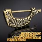Stunning Vintage Fish Antiqued Brass Padlock & Key Eastern Asian Jewellery Box
