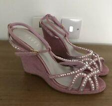 Ladies Pink Diamanté Ravel Wedge Heeled Strap Sandals/Shoes - Size 41