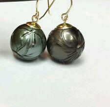 Pair Tahitian 13mm Black flower tribal hand carved Pearl solid 14k gold earrings