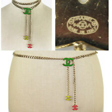 AUTHENTIC CHANEL Pink & Green GOLD CHAIN BELT NECKLACE Enamel CC Logo & BOX