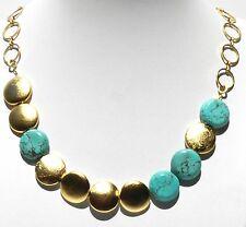 Elegant Designer Yellow Gold 24K Plated Necklace Set w Turquoise Gemstone