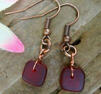 Square Red Sea Glass Copper Dangle Earrings USA HANDMADE