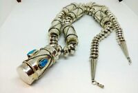 Vintage NAVAJO Sterling Silver  BEADS Navajo Pearls turquoise NECKLACE #