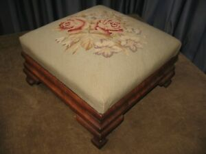 1800s EMPIRE OTTOMAN MAHOGANY FOOTSTOOL FLORAL NEEDLEPOINT CLEAN VERY STURDY