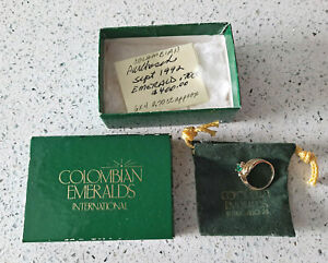 Estate Find Vintage Columbian Emerald Ring Stamped JH 14kp Size 6