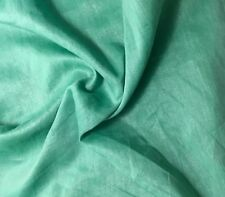 Metallic Silver Silk/Cotton Voile Fabric Hand Dyed EMERALD GREEN 1/3 yard