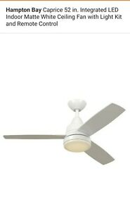 Hampton Bay Caprice 52 in.  Ceiling Fan with Light Kit White