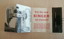 VINTAGE SINGER SLANT-O-MATIC SEWING MACHINE ADVERTISEMENT CARD WITH FREE NEEDLE