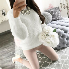 Women's Fluffy Sweater Shaggy Jumper Ladies Long Sleeve Pullover Tops Blouse UK